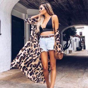 🆕 Leopard Print Chiffon Kimono Coverup